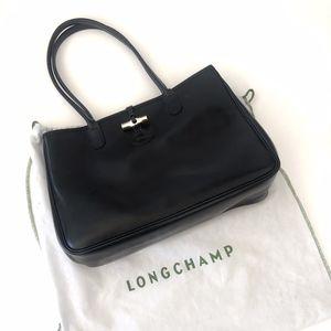 Longchamp Roseau Leather Black Tote Purse